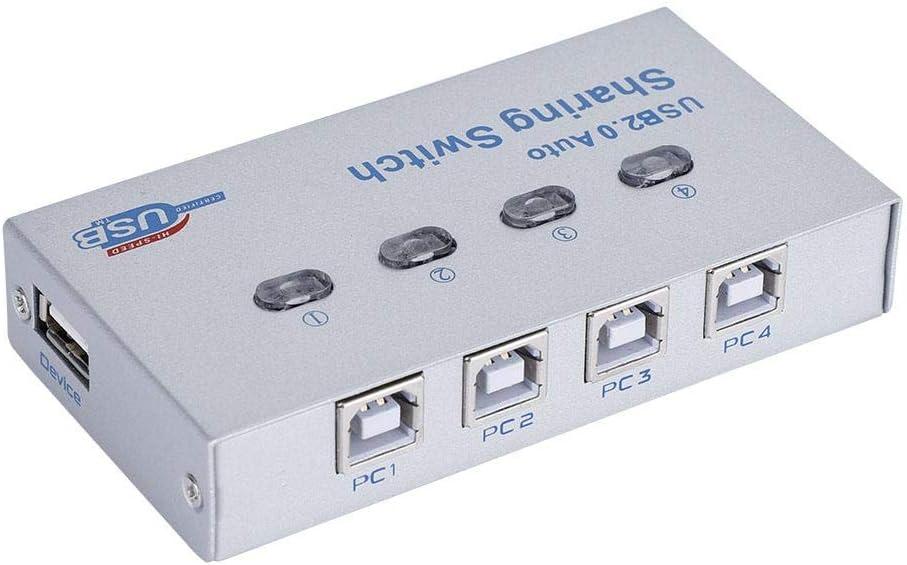 ASHATA Conmutador USB 2.0, 1 en 4 Salidas USB 2.0 Automático/Manual Compartiendo Caja de interruptores Adaptador de 4 Puertos Hub para Impresora Escáner Plotter Lector de Tarjetas Copiadora: Amazon.es: Electrónica