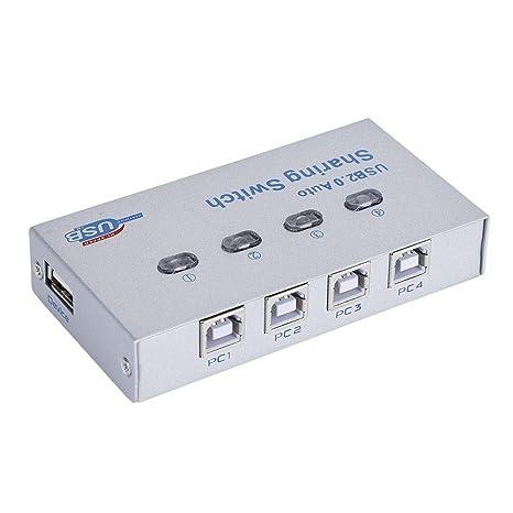 ASHATA Conmutador USB 2.0, 1 en 4 Salidas USB 2.0 Automático ...