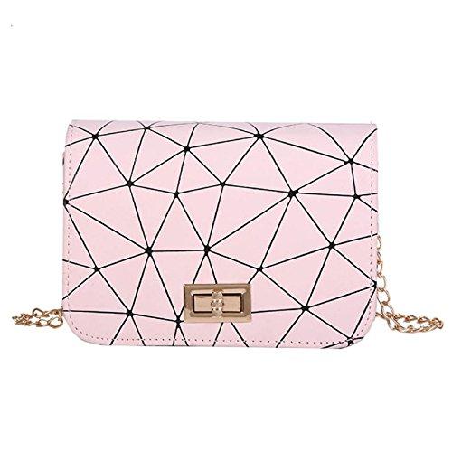 Owill Pink Shoulder Grid Messenger Women Pattern Bags Bag Bag Crossbody Ladies Fashion Leather SRFwqS4x