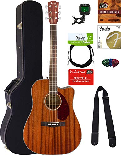 Fender CD-140SCE Dreadnought Acoustic-Electric Guitar - All Mahogany Bundle with Hard Case, Cable, Tuner, Strap, Strings, Picks, Austin Bazaar Instructional DVD, and Polishing Cloth ()