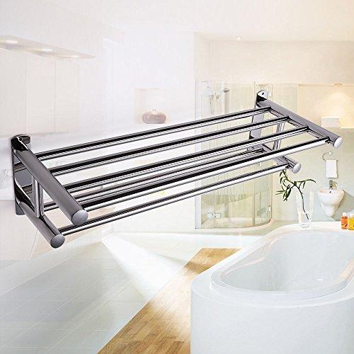 Double Stainless Wall Mounted Bathroom Towel Rail Holder Storage Rack Shelf Bar