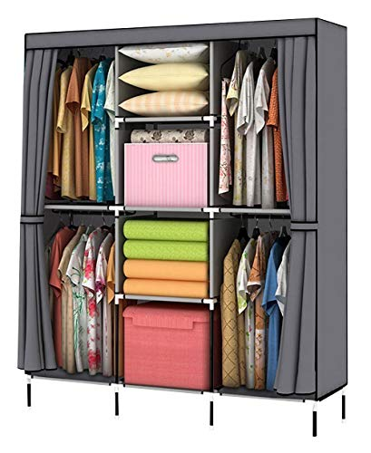 YOUUD Wardrobe Storage Closet Clothes Portable Wardrobe Storage Closet Portable Closet Organizer Portable Closets Wardrobe Closet Organizer Shelf Wardrobe Clothes Organizer Standing Closet Gray