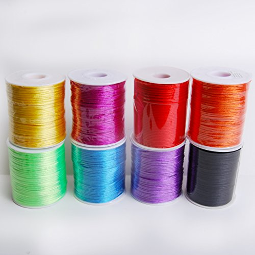 Craft And Party 2 mm x 100 yards Rattail Satin Nylon Trim Cord Chinese Knot, Assorted -