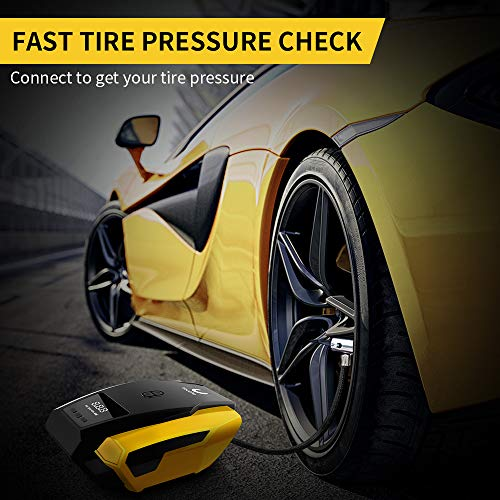 VacLife Portable Air Compressor for Car Tires, DC 12V Air Compressor Tire Inflator, 150 PSI Tire Pump with LED Light, Digital Air Pump for Car Tires, Bicycle and Other Inflatables by VacLife (Image #4)