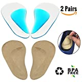 Arch Support Insoles for Flat Feet, Adhesive Arch Pad Silicone Insoles Cushion for Women and Men Plantar Fasciitis Relieve Pain and Reduces Pressure, 2 Pairs