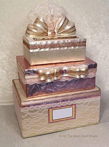 Blush Rose Gold Wedding Card Box with slot Sweet 16 Birthday Quinceanera 3 stacked Tiers Handmade Holds 250 cards