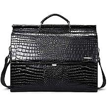 "BOSTANTEN Leather Briefcase 16""Laptop Business Vintage Slim Messenger Crocodile Bags for Men & Women"