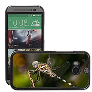Hot Style Cell Phone PC Hard Case Cover // M00129299 Dragonfly Macro Insect Tau Emerald // HTC One M8