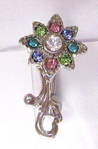 - VCH Clit Hood Curved Barbell Mosaic Crystal Filigree Flower 14 Gauge 14g