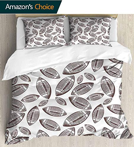 shirlyhome Football Bedding Sets Duvet Cover Set,Sports Inspired Pattern Rugby Balls in Hand Drawn Sketch Style Game Symbol Bedding Set for Kids,Boys and Teens 104