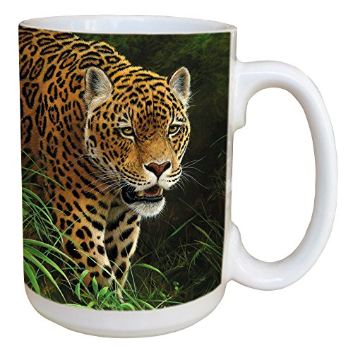 Tree-Free Greetings 45711 Jeremy Paul Classic Collection Jaguar Ceramic Mug with Full-Sized Handle, 15-Ounce