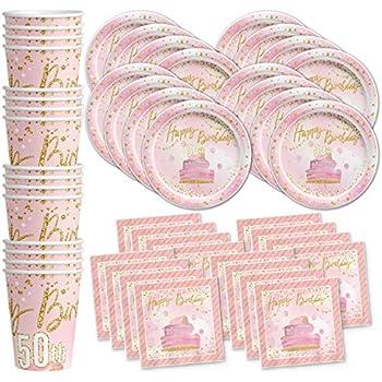 Amazon.com: Custom Chic 50º cumpleaños, color rosa, color ...