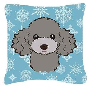 Copo de nieve gris plata caniche tela almohada decorativa–BB1693PW1414