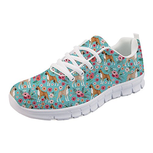 HUGS IDEA Fashion Women's Lightweight Running Sneakers Boxer Flower Print Lace-Up Athletic Walking Shoes