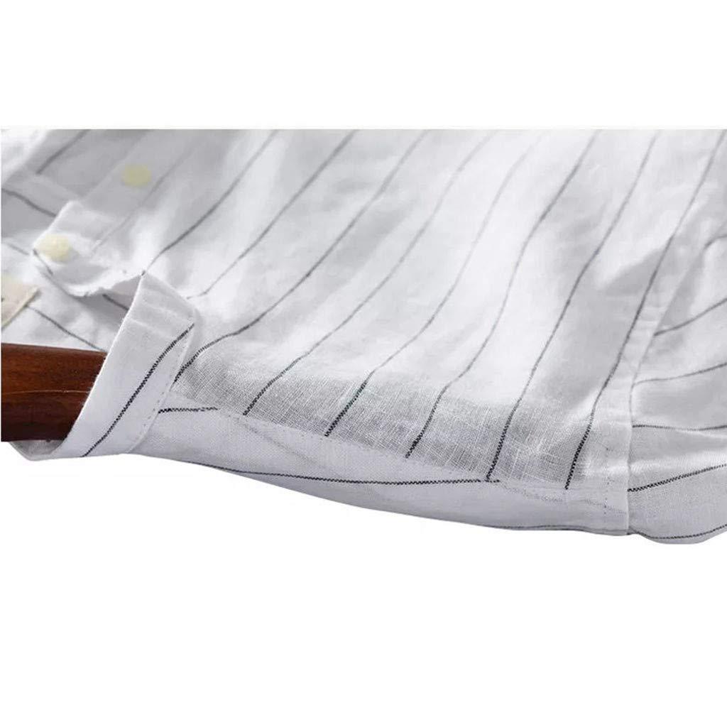 Shirts for Mens Xlala Standing Collar V Neck Tops Blouse Baggy Cotton Linen Vertical Stripes Short Sleeve Retro T Shirts
