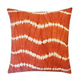 Vivai Home Orange Tie Dye Pattern 18x 18 Square Cotton Feather Pillow
