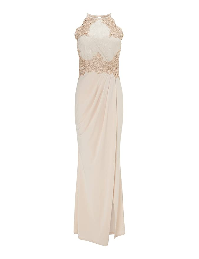 458e262cd1 LIPSY Women 3D Floral Detail Maxi Dress Nude US 2 (UK 6): Amazon.ca:  Clothing & Accessories