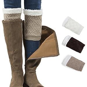 Women Boot Cuffs, Fleece Lined Knit Short Crochet Leg Warmers, Thick Winter Warm Snow Cuff Socks by REDESS