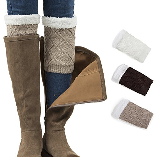 Womens Warm Lined Boots (Women Boot Cuffs, Fleece Lined Knit Short Crochet Leg Warmers, Thick Winter Warm Snow Cuff Socks by REDESS)
