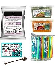 Kit de té de burbujas – Make at Home Bubble Tea – con polvo de fresa de té de burbujas en polvo y jugo de monje salvaje (kiwi, mango). Herramientas incluidas. (33 Porciones)