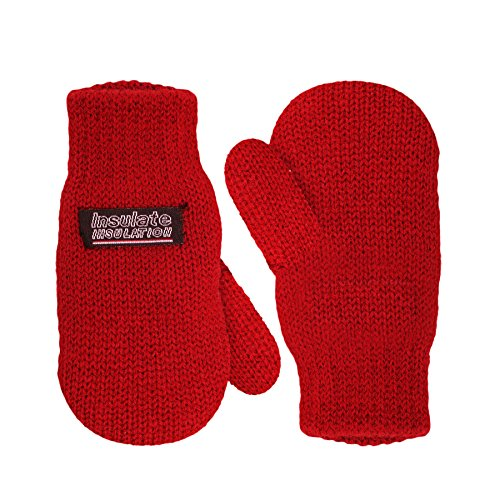 SANREMO Unisex Kids Toddler Knitted Fleece Lined Warm Winter Mittens (4-6 Years, Red) (Thermal Fleece Mittens compare prices)