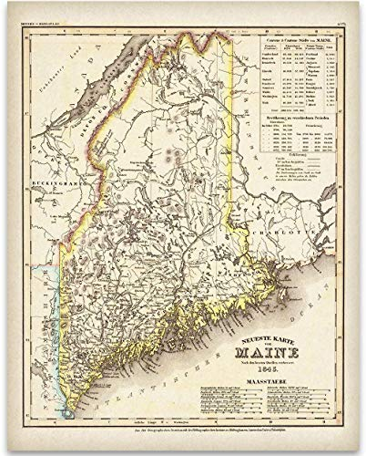 1845 Map of Maine Art Print - 11x14 Unframed Art Print - Great Vintage Home Decor Under $15