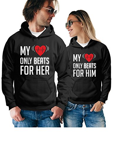 My Heart Only Beats For him & Her Matching Couple Hoodies - Pullover Sweatshirts - His and Hers Outfits