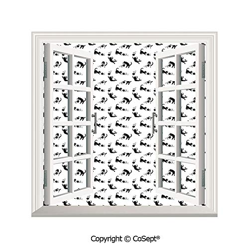 Artificial Window Wall Applique Landscape Wall Decoration,Cute Domestic Animals Chasing After Yarn Balls Jumping Playful Kitties Feline Fun Decorative,Window Decorative Decals Interior(25.86x22.63 inc