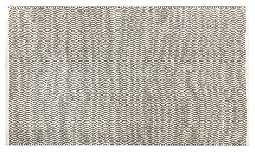 Fernish D cor 100 Contemporary Cotton Keyhole Design Area Rug Fully Reversible, Size-3 X 5 , Machine Washable, Unique for Bedroom, Living Room, Kitchen, Nursery and More- Beige White