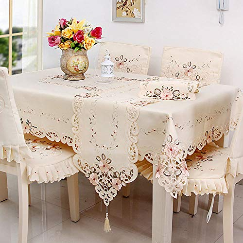 LeLehome Beige Rose Flower Embroidered Lace Cream Yellow Rectangular Tablecloth 22 inch x 46 Inch Approx Multi ()