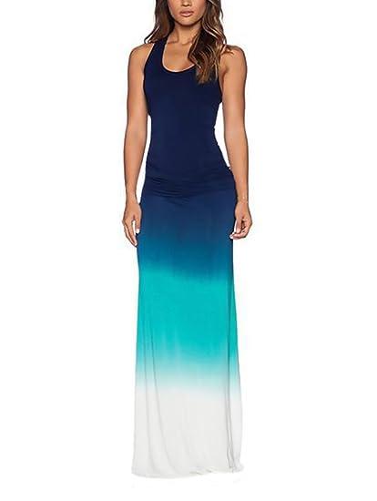 Vestidos Verano Mujer Largos Vestido Playa Beach Color Degradado Sin Mangas Slim Fit Hippie Joven Moda Casual Ropa En Oferta: Amazon.es: Ropa y accesorios