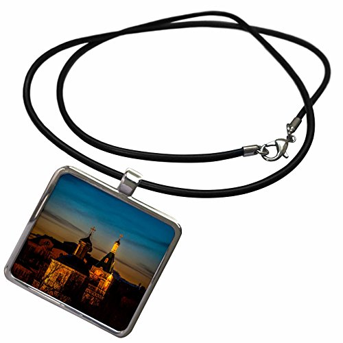 3dRose Alexis Photo-Art - Moscow City - Illuminated shining old church at late winter sunset. Stylized photo - Necklace With Rectangle Pendant (ncl_272362_1)