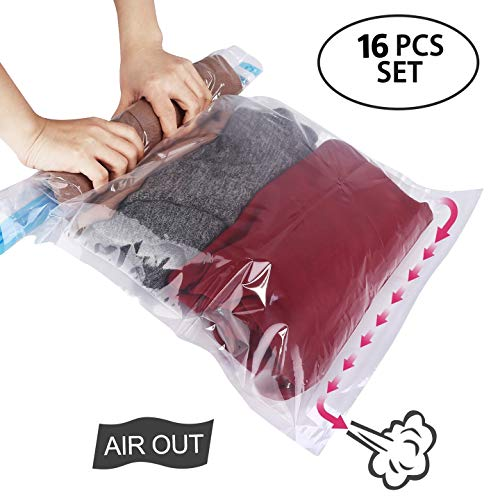 - HOMEIDEAS 16 Pack Travel Space Saver Bags, Roll Up Storage Bags, Compression Bags for Travel and Storage - No Vacuum or Pump Needed