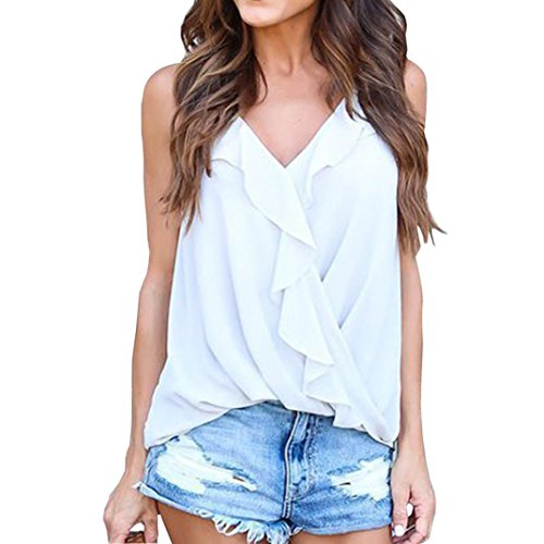Price comparison product image Gillberry Women Tank Tops,  Women Summer Lace Vest Top Short Sleeve Blouse Casual Tank Top T-Shirt (White C,  S)