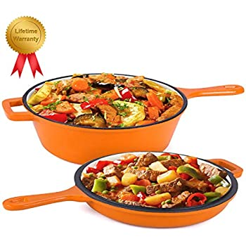 Enameled 2-In-1 Cast Iron Multi-Cooker - Heavy Duty 3.2 Quart Skillet and Lid Set, Versatile Healthy Design, Non-Stick Kitchen Cookware, Use As Dutch Oven Frying Pan (Orange)