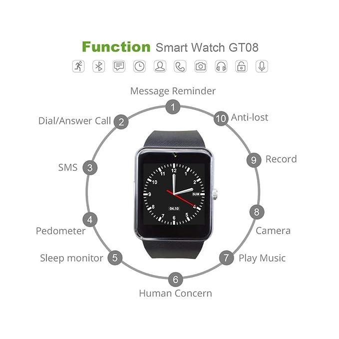 Bluetooth Smart Watch para iPhone Phone para Huawei Samsung Xiaomi ...