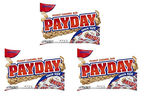 Payday, Peanut Caramel Candy Bars Snack Size, 20.3 Oz (Pack of 3) by Payday, Peanut Caramel Candy Bars Snack Size, 20.3 Oz