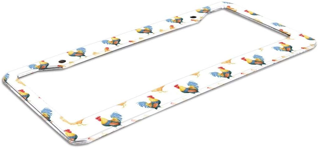 2 PCS Funny Metal Car Tag License Plate Holder Vehicles Accessory Nixboser Watercolor Rooster and Hen License Plate Frame 2 Holes