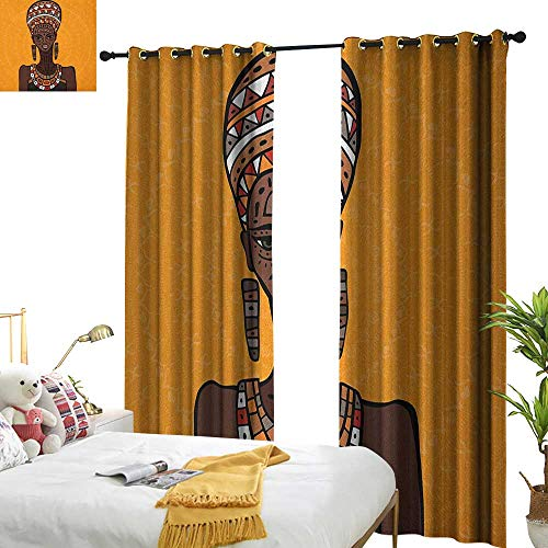 WinfreyDecor Insulated Sunshade Curtain African Woman Ethnographic Artwork African Tribe Woman Long Neck Folk Figures on Mandala Darkening and Thermal Insulating W108 x L96 -