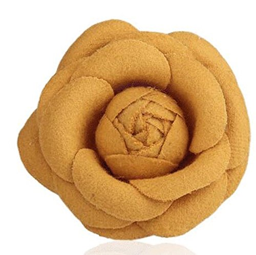 Tweed Bubble (MISASHA Celebrity Designer Fabric Tweed Camellia Yellow Flower Pin Brooch)