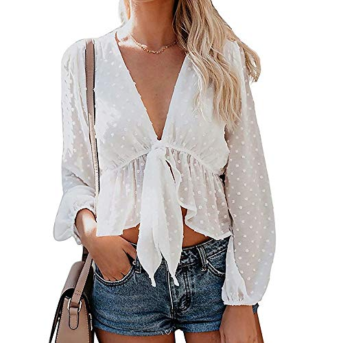 RoseLily Women's Tie Knot Crop Blouse V-Neck Long Sleeve Summer Beach Sheer Cover Up Tee Shirt Tops -