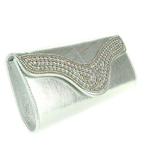 Mujer Señoras Diamante Colgajo curvo Brillante metálico Sobre Noche Fiesta Boda Nupcial Paseo Cristal Embrague Bolso Plata