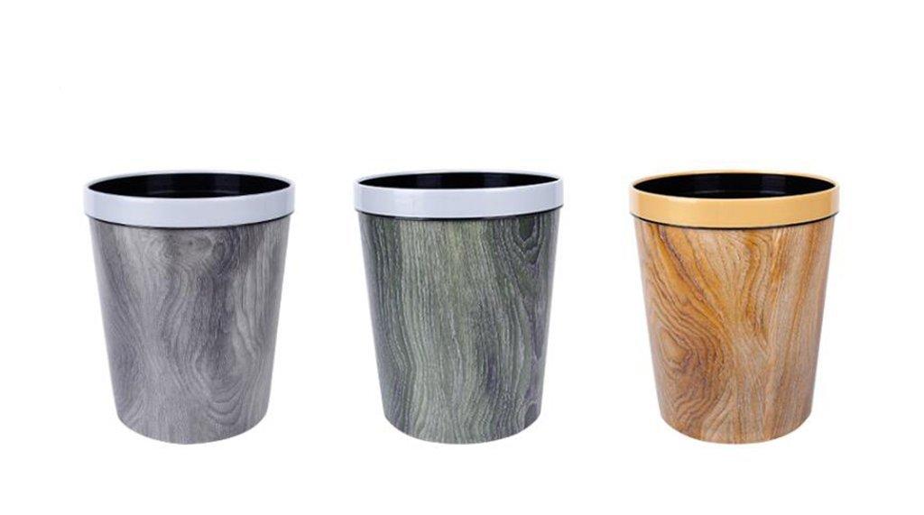 CSQ Plastic Trash Can, Creative Three Imitation Wood Grain Trash Can Household Office Use Sanitary Canister Hotel Hotel Trash Bin Paper Basket 12L (Size : 2530CM)