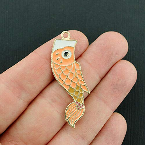 Enamel Tropical Fish Charm - 2 Tropical Fish Charms Gold Plated Enamel Fun and Colorful - E244
