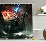 Lake House Decor Shower Curtain Set by Ambesonne, Imaginary Wrath of Religious Figure Vikings Royal Boat with Dragon Head Storm Rays, Bathroom Accessories, 75 Inches Long, Multi