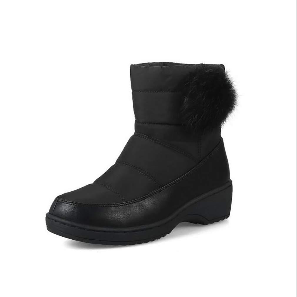 Hy Frauen Stiefelies Winter Student Casual Schnee Stiefel/Damen Künstliche PU Große Größe Outdoor Stiefel Flache Stiefel Snowboard Stiefel Winter Rutschfeste Stiefel (Farbe : Schwarz, Größe : 37)