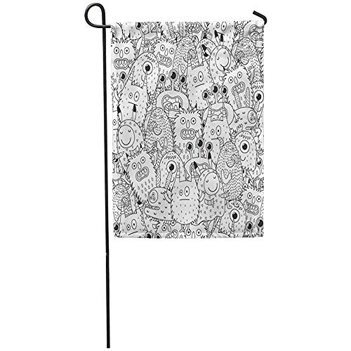 (Garden Flag 12x18 Inches Print On Two Side Polyester Halloween Funny Monsters for Coloring Book Black and White Page Scary Adult Alie Home Yard Farm Fade Resistant Outdoor House Decor)