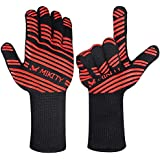 Mikity EN407 Certified 932°F Extreme Heat Resistant Grill Gloves | Fireproof Grilling Gloves for High Heat | Fire Resistant Insulated BBQ Mitts for Deep Fryer, Rotisserie, Barbeque, Smoker and Kitchen