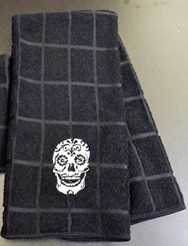 Embroidered Sugar Skull Tea Towel -
