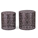 Adeco Luxury Accent Steel Black Metal Nesting End Coffee Side Table, Set of 2 (Black I)
